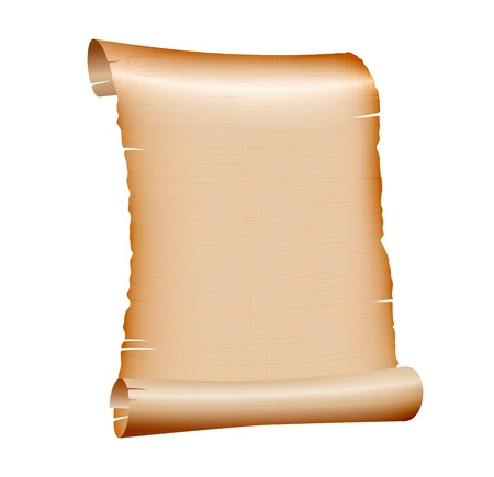 old blank scroll paper on white background. illustration