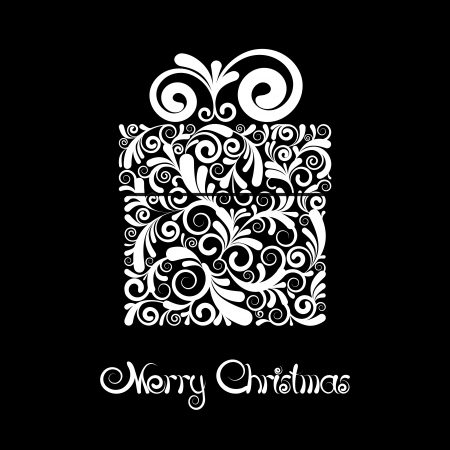 Christmas card - gift box with scroll ornament  Black and white vector Illustration