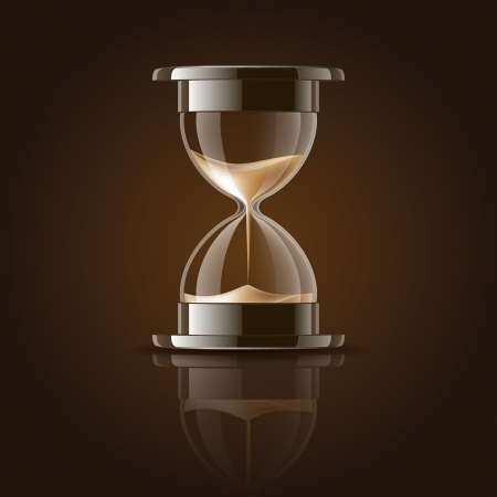 Sand falling in the hourglass on dark background  Vector illustration