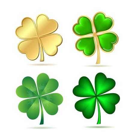 Illustration pour Set of four-leaf clovers isolated on white  St  Patrick s day symbol illustration - image libre de droit
