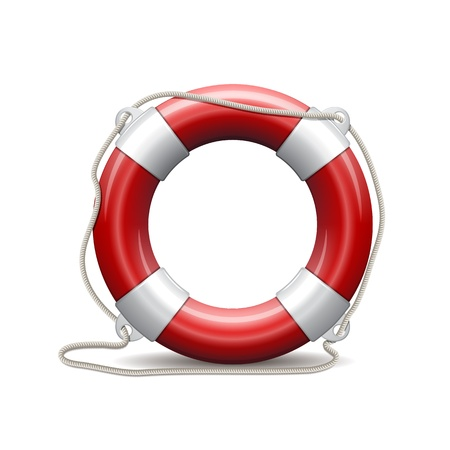 Red life buoy on white background