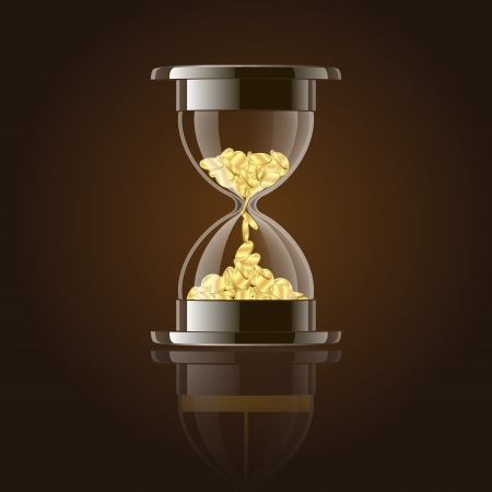 Hourglass with gold coins over dark background  illustration