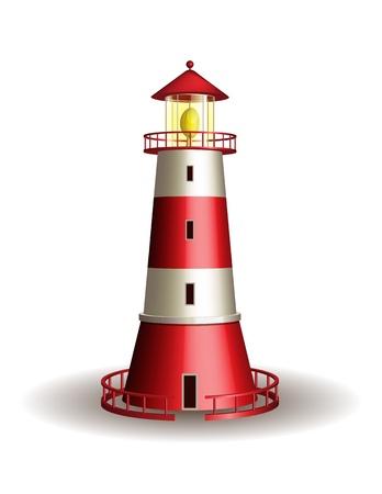 Red lighthouse isolated on white background  illustration