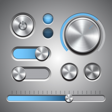 Set of the detailed UI elements with knob, switches and slider in metallic style illustration