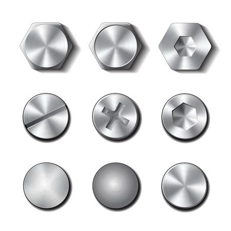 Illustration pour Set of screws and bolts on white background illustration - image libre de droit
