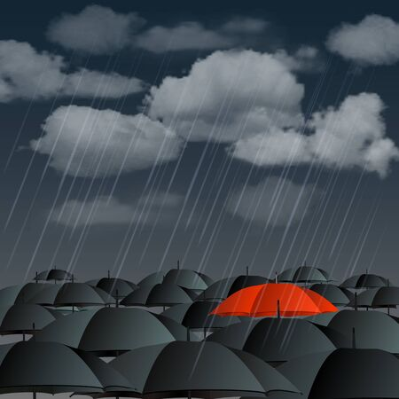 Standing out from the crowd, high angle view of red umbrella over many dark ones  Vector illustration