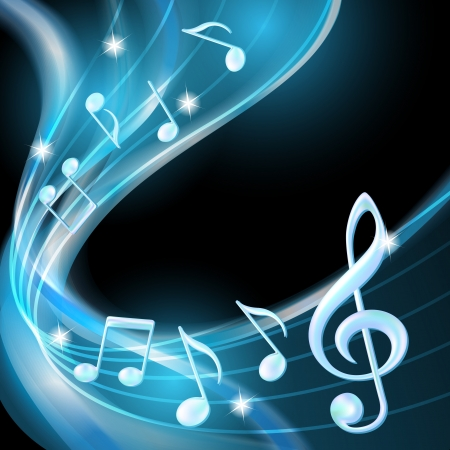 Blue abstract notes music background illustration