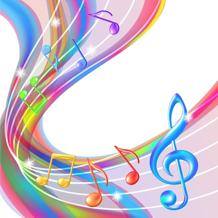 Colorful abstract notes music background illustration