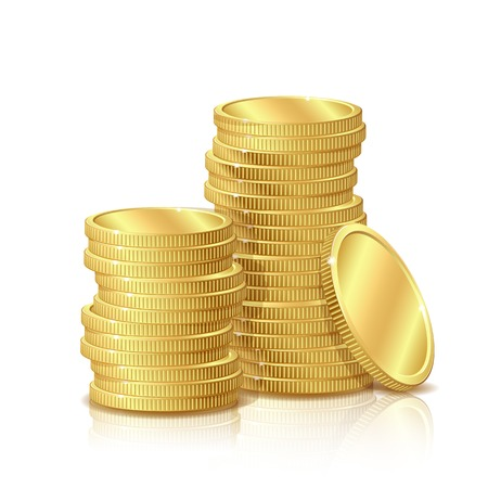 Illustration pour Stack of Gold Coins, isolated on white background - image libre de droit