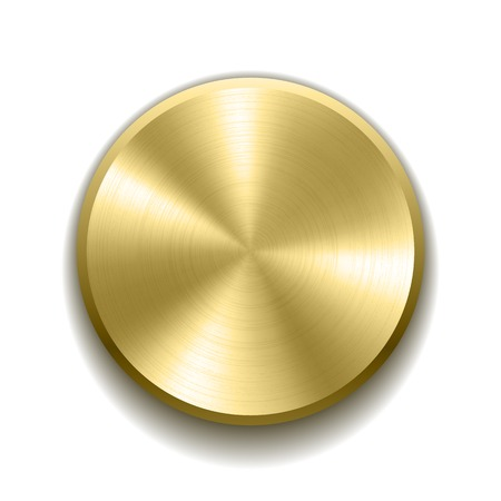 Realistic gold button with circular processing