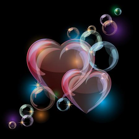 Illustration pour Romantic background with colorful bubble hearts shapes on black background. Vector illustration - image libre de droit