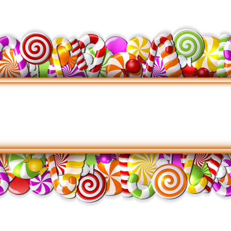 Sweet banner with colorful candies. Seamless pattern. Vector illustration
