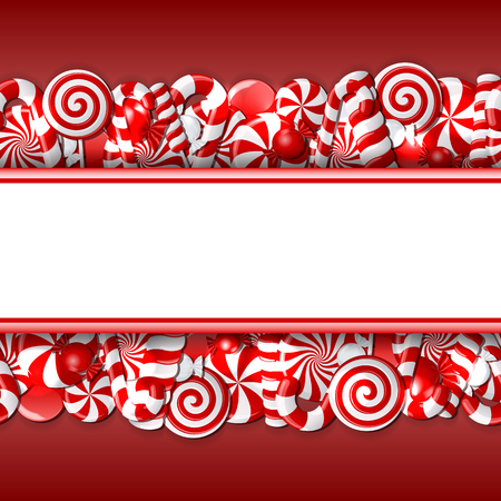 red and white candies. Seamless pattern.