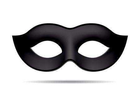 Ilustración de Black carnival mask for masquerade costume. Isolated on white background - Imagen libre de derechos