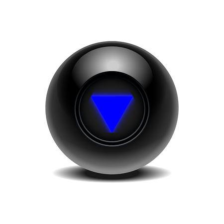 Illustration pour Realistic black Eight Ball of predictions - image libre de droit