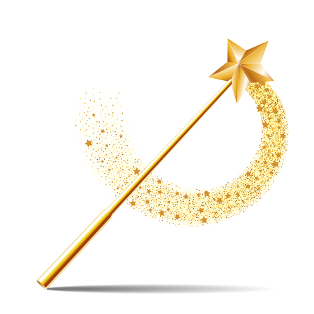 Ilustración de Magic wand with gold star illustration on white background. - Imagen libre de derechos