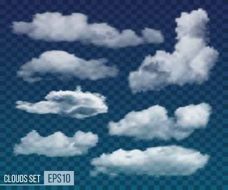 Illustration pour Collection of realistic transparent night clouds. Vector illustration EPS10 - image libre de droit