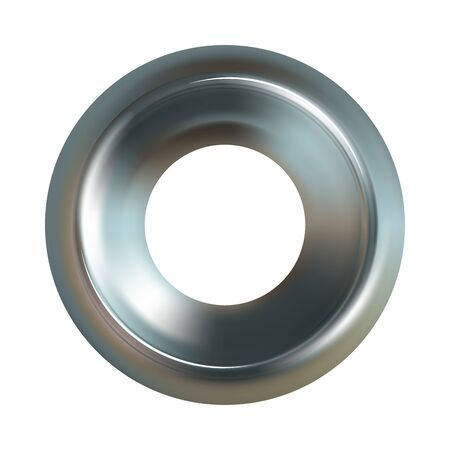Illustration pour Steel washer. Realistic steel washer vector icon - image libre de droit