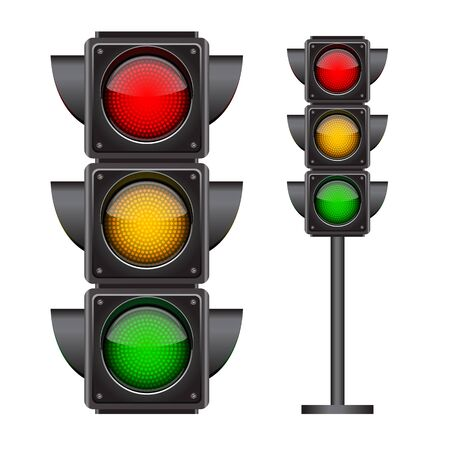 Illustration for Traffic lights with all three colors on. Photo-realistic vector illustration isolated on white background - Royalty Free Image