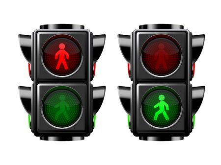 Illustration for Pedestrian traffic lights red and green isolated on white - Royalty Free Image