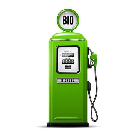 Illustration pour Green bright Gas station pump with fuel nozzle of petrol pump. Biofuel concept - image libre de droit