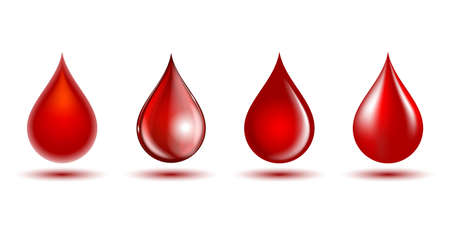 Illustration pour Red shiny drops of blood isolated on white background. - image libre de droit