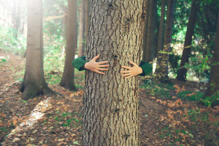 Photo pour woman hand in tree in nature background - image libre de droit