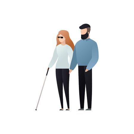 Illustration pour Vector blind character people flat illustration. Adult woman in glasses with cane walking with man isolated on white background. Modern design element for social care service, diversity, accessebility - image libre de droit