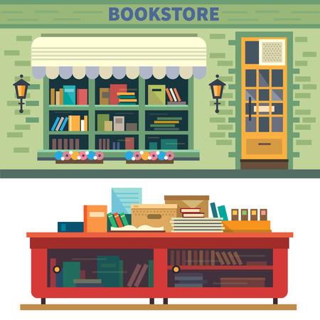 Illustration pour Bookstore. Books science knowledge.  - image libre de droit