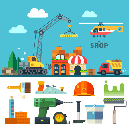 Construction. Process tools and materials. Vector flat icon set and illustration: building a house crane truck helicopter bricks stone sand paint brush roller drill helmet hammer plane