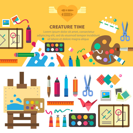 Creative set for artist. Ideas creativity design. Tools and materials: paint brushes markers pencil scissors ruler easel palette. Vector flat illustrations and background