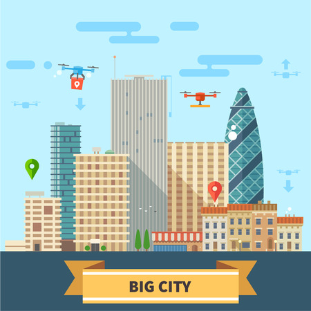 Illustration pour Landscape of the future. Modern technologies Big city skyscrapers and drones flying in the sky. Vector flat illustration - image libre de droit