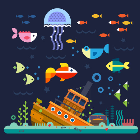 Illustration pour Sea life. Underwater world. Fish jellyfish sea bottom backwaters ship algae treasure. Vector flat illustrations and icon set - image libre de droit