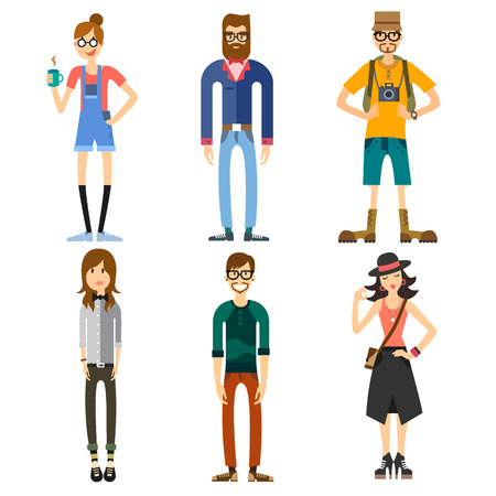 Different Characters of people including hipster and tourist. Girls and boys. Fashion and Style. Vector flat illustration