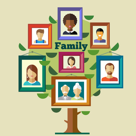 Illustration pour Family tree relationships and traditions. Portraits of peoples in frames: mother father child grandmother grandfather. Vector flat illustrations - image libre de droit
