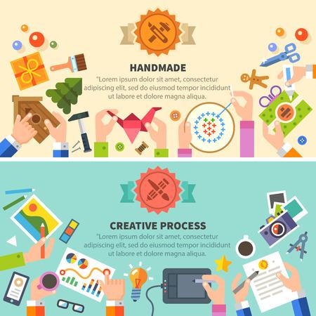 Foto de Handmade and creative process: drawing photo embroidery workshop. Vector flat illustrations - Imagen libre de derechos