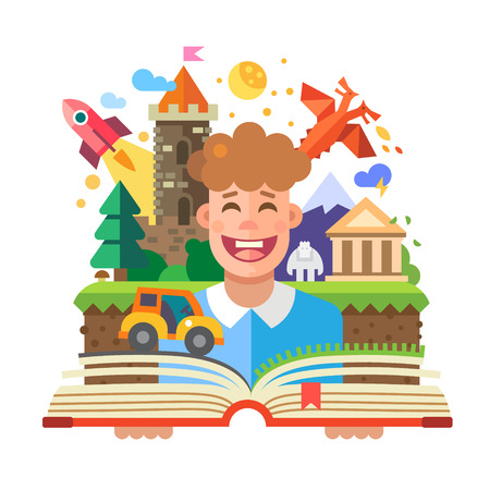 Imagination concept child with open book. Fairy Tales: characters castle dragon rocket car yeti temple mountain. Vector flat illustration