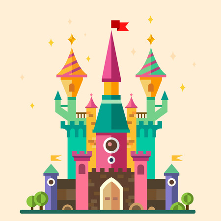 Illustration for Magical fabulous cartoon castle. Vector flat illustrations - Royalty Free Image