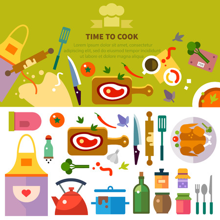 Kitchen cooking. Workplace of chef: food spices utensils tools and devices: meat pastry chicken dishes apron.Vector flat illustrations