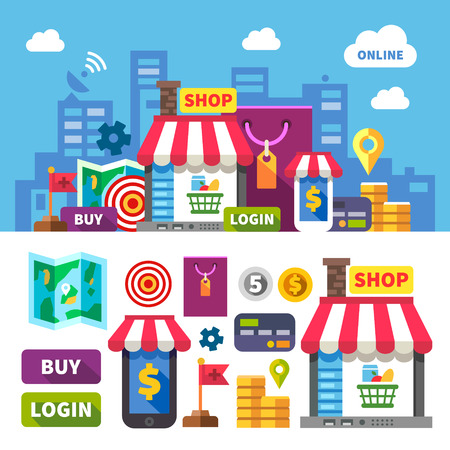Online shopping. Color vector flat icon set and illustration: city online store shopping food clothing cosmetics computer laptop phone money payment card map