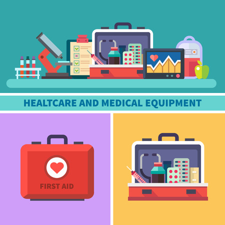 Health care and medical equipment. First aid research microscope analyzes medicines cardiogram blood transfusion. Vector flat illustrations and icons