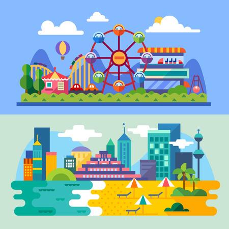 Summer city beach amusement park landscapes: ferris wheel roller coasters balloon seabeach. Vacation. Vector flat illustrations