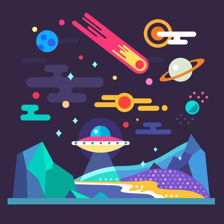 Illustration pour Space landscape: stars planets comet ufo stardust. Solar system. Relief of planet: blue mountains purple lands yellow sand. Vector flat illustrations and background - image libre de droit