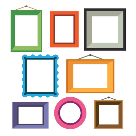 Illustration for Vector set of different colorful photo frames in flat style - Royalty Free Image
