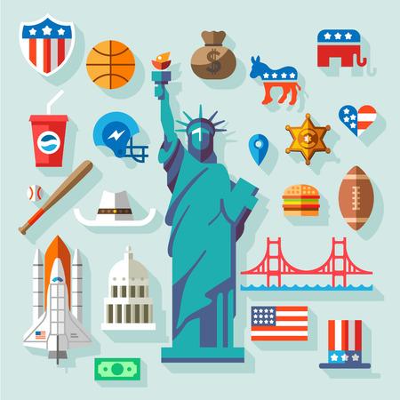 USA Symbols many vector flat icons