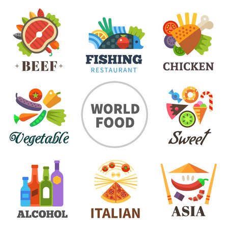 World of food: meat fish chicken vegetables asia alcohol Italian sweets. Vector flat set