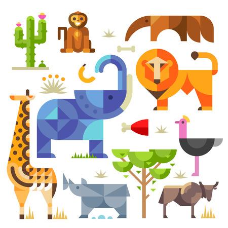 Geometric flat Africa animals and plants including elephant lion monkey giraffe rhino ostrich anteater hyena cactus