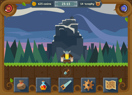 The user interface for the game: main menu settings score time map background forest and castle. Vector flat style