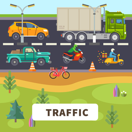 Traffic: truck car motorcycle moped bike ride down the road. Vector flat illustration