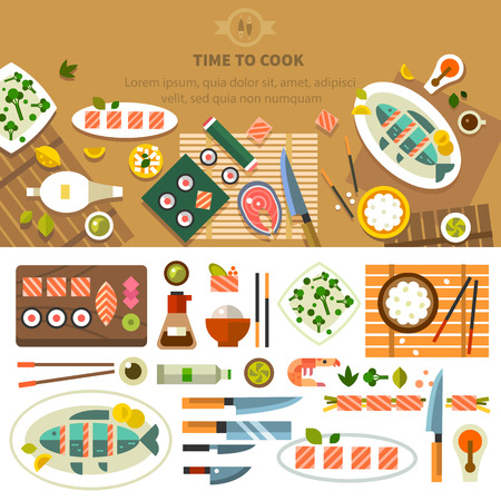 Dining table with dishes in top view. Restaurant asian cuisine: chef prepares sushi and fish. Devices for cooking kitchenware. Vector flat illustration